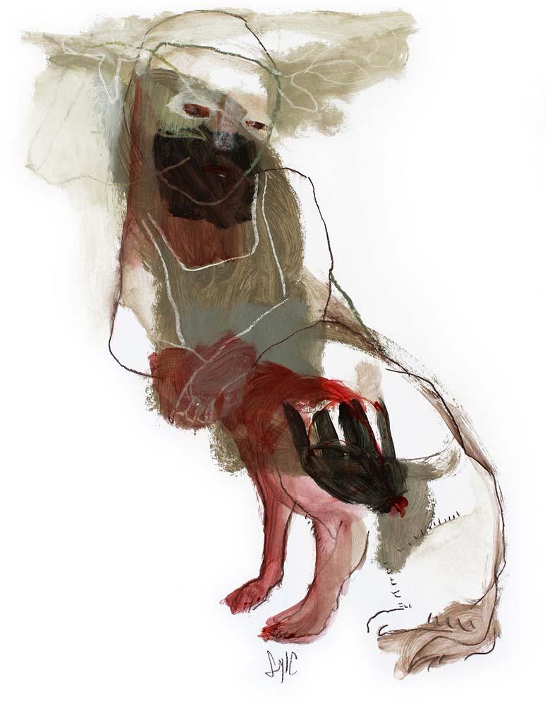 UNTITLED, 2013 - Fusain, acrylique & pastel gras sur papier, 65x50cm