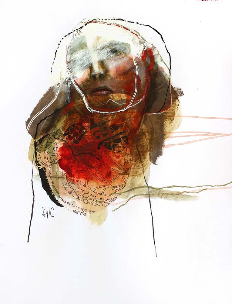 UNTITLED, 2015 - Fusain, encre de Chine, acrylique & pastel gras sur papier, 65x50cm