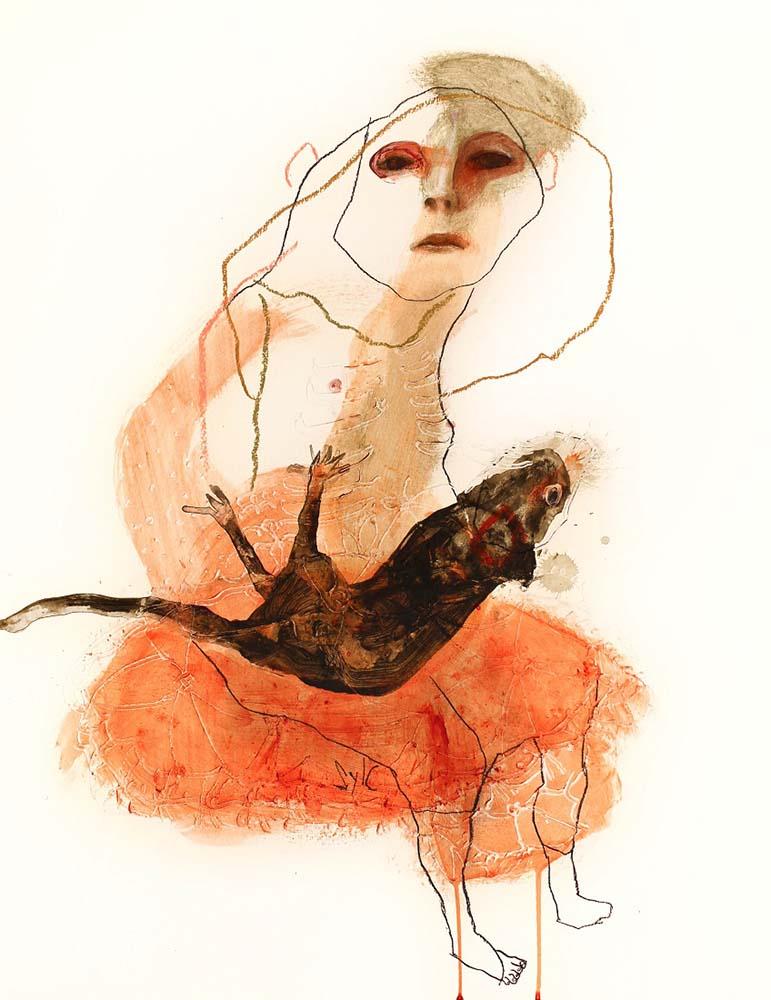 RATS, Dessin #2, 2015 - Fusain, acrylique & pastel gras sur papier, 65x50cm