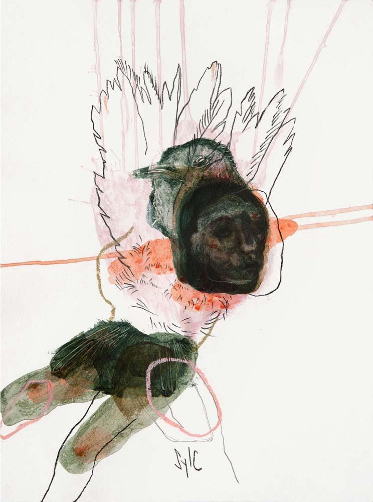 HUMAN BIRD, Dessin #23, 2016 - Mine graphite, fusain, acrylique & pastel gras sur papier, 40x30cm