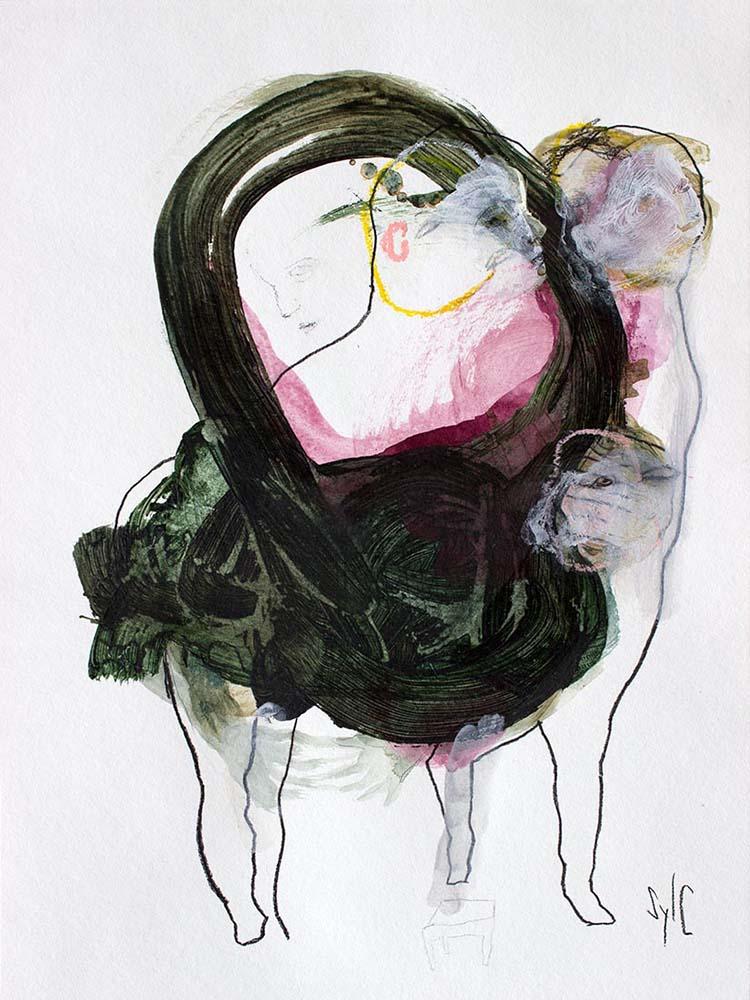 OSMOSE(S), Dessin #5, 2017 - Fusain, acrylique & pastel gras sur papier, 40x30cm