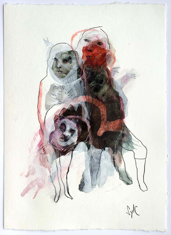 OSMOSE(S), Dessin #12, 2017 - Fusain, acrylique & pastel gras sur papier, 28x20cm