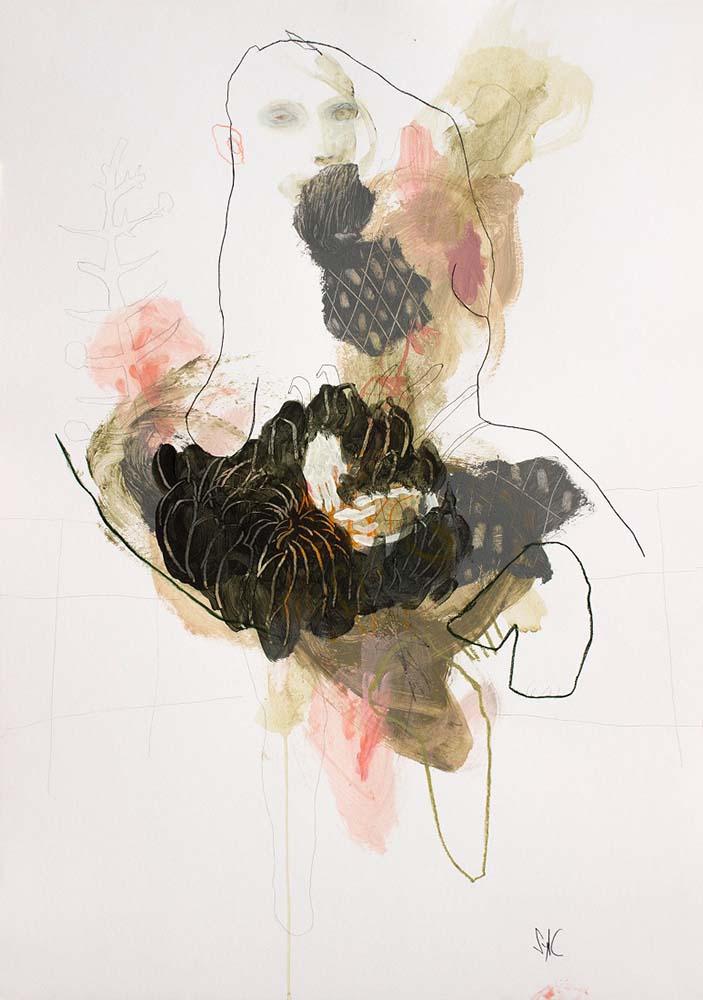UNTITLED, 2018 - Mine graphite, fusain, encre de Chine, acrylique & pastel gras sur papier, 100x70cm