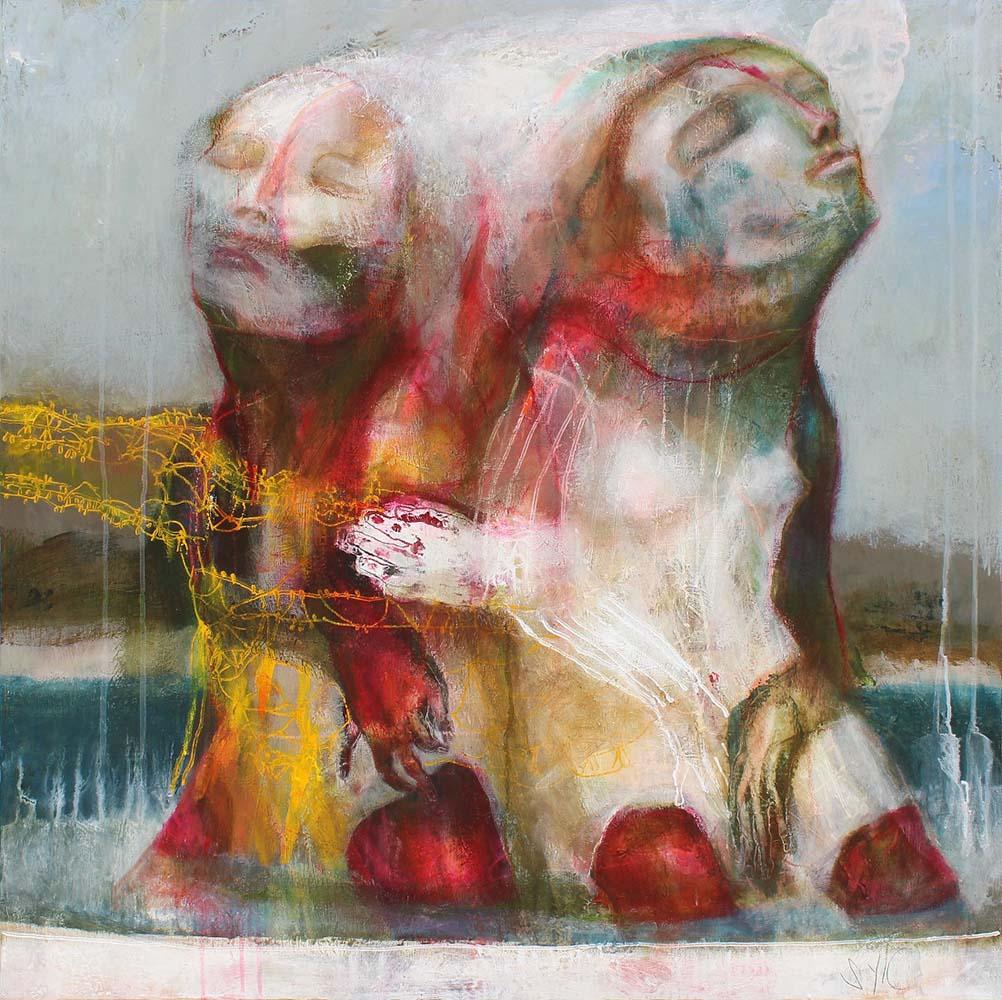 LE PARFUM DES SAISONS (XVIII), 2015 - Acrylique & pastel à l'huile sur toile, 100x100cm