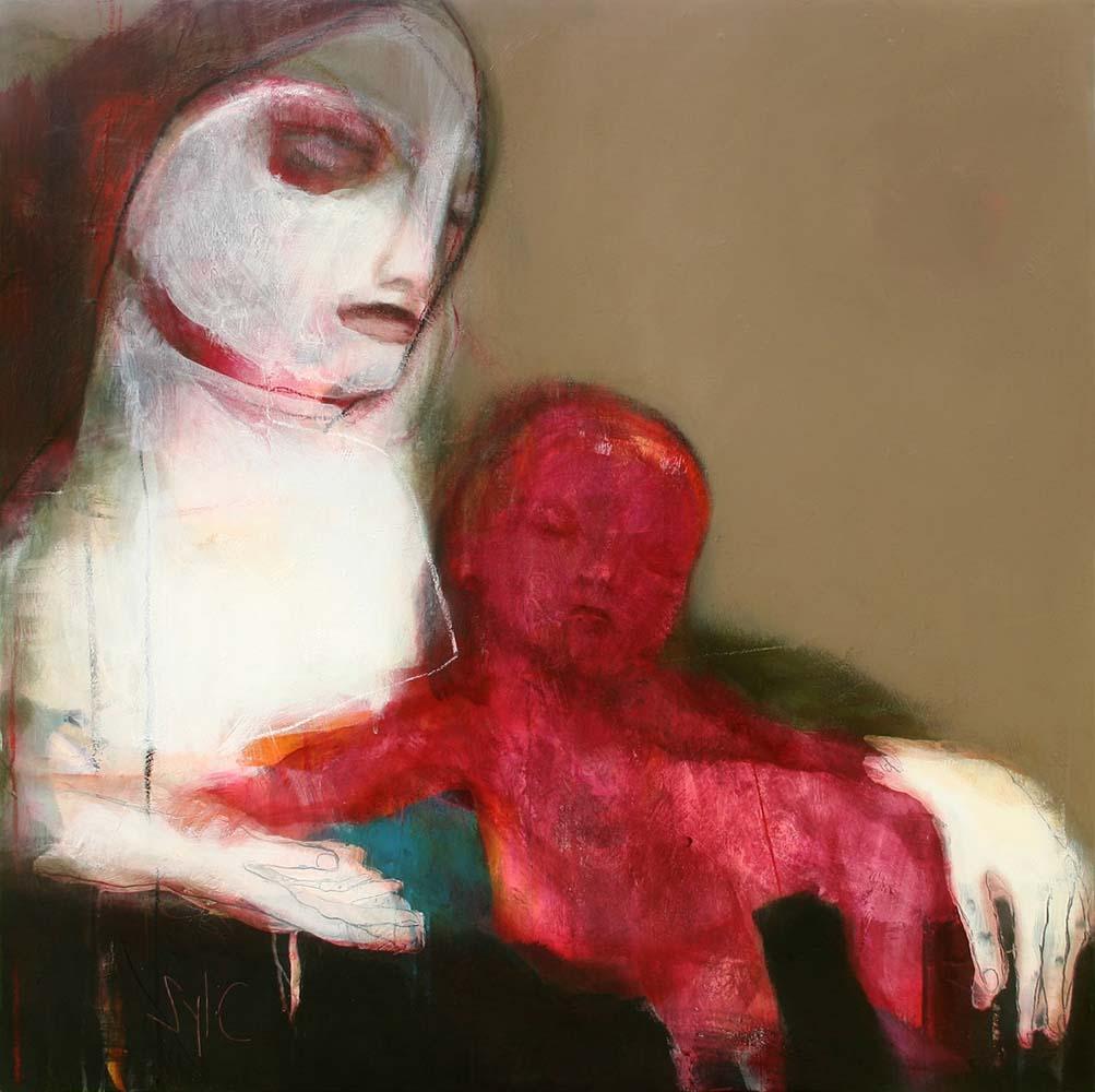 MOTHER (VIII), 2012 - Acrylique & pastel à l'huile sur toile, 100x100cm