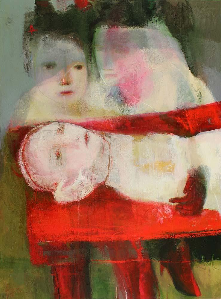 LE JOUR OU JE SUIS MORTE, 2012 - Acrylique & pastel à l'huile sur toile, 130x97cm