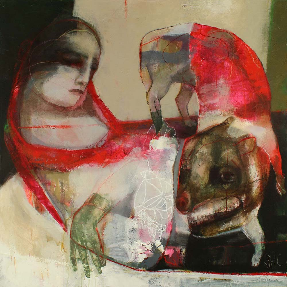 LA RONDE DES CHIENS FOUS (I), 2012 - Acrylique & pastel à l'huile sur toile, 120x120cm