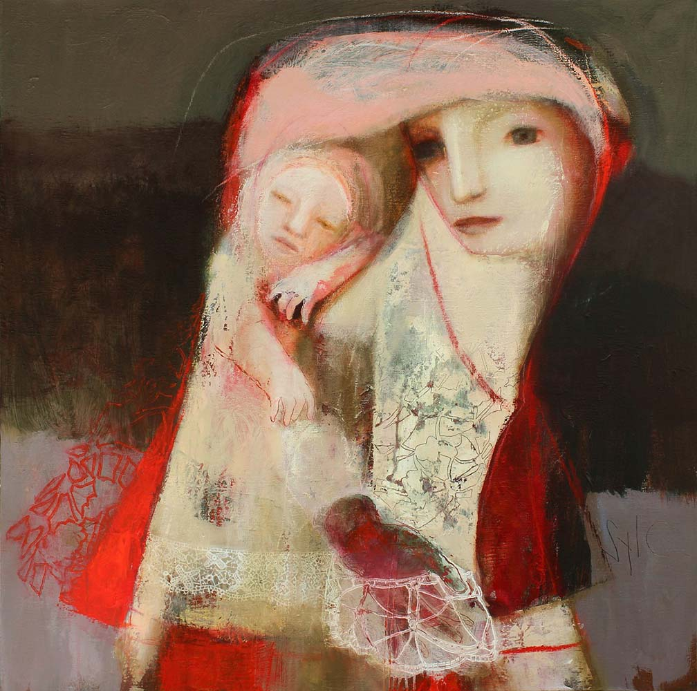 MOTHER (X), 2012 - Acrylique & pastel à l'huile sur toile, 100x100cm