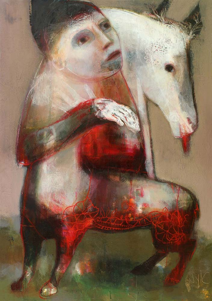 SHAMAN (I), 2013 - Acrylique & pastel à l'huile sur toile, 162x114cm