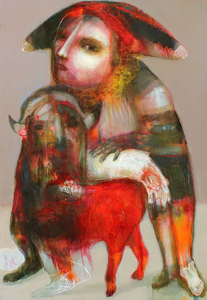 RETENIR SON SOUFFLE JUSQU'AU PARFAIT SILENCE, 2013 - Acrylique & pastel à l'huile sur carton, 168x128cm