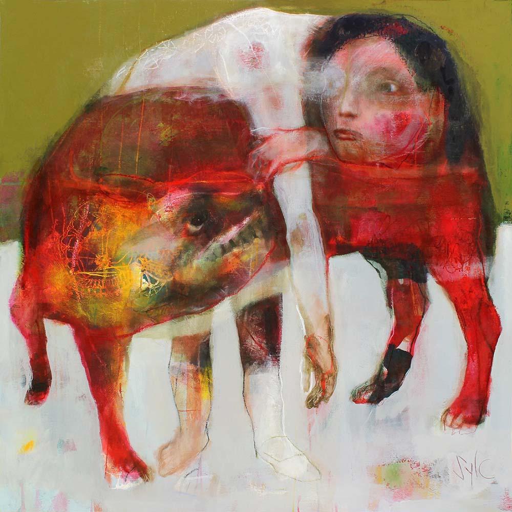 LA RONDE DES CHIENS FOUS (II), 2013 - Acrylique & pastel à l'huile sur toile, 120x120cm