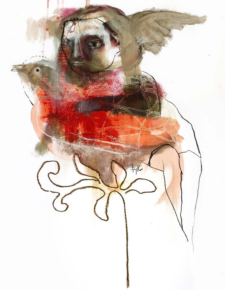HUMAN BIRD, Dessin #1, 2013 - Fusain, acrylique & pastel gras sur papier, 65x50cm