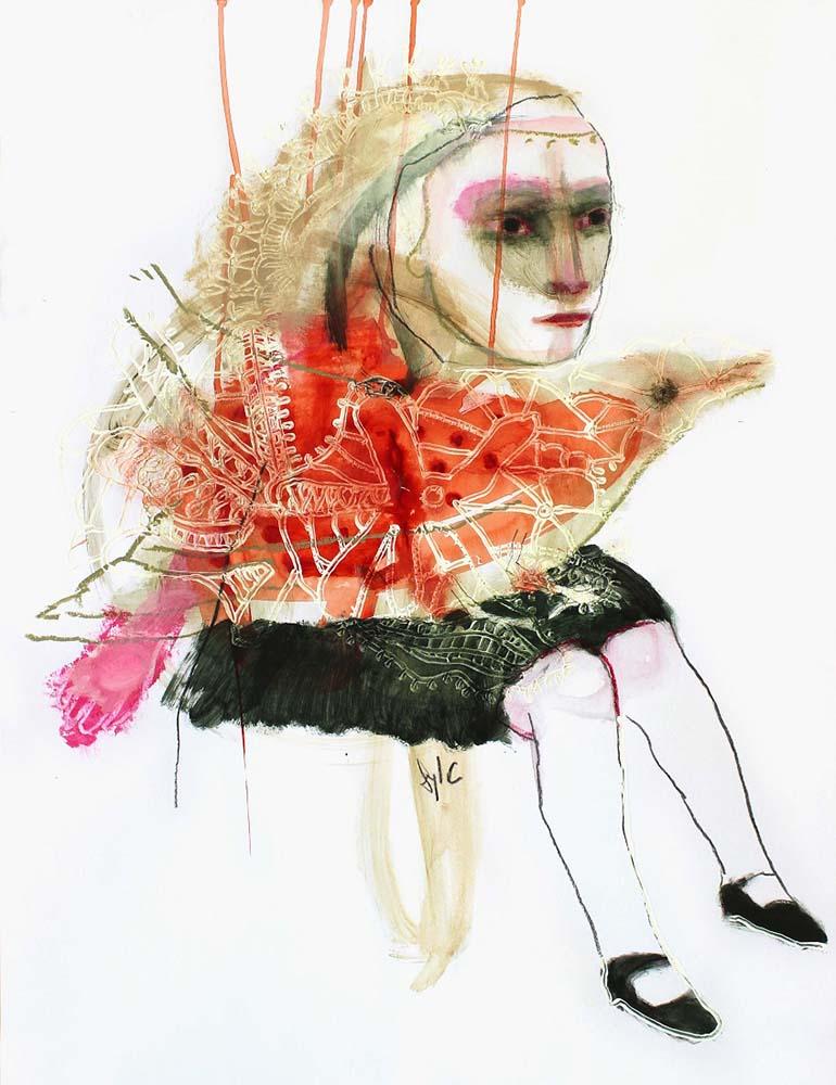 HUMAN BIRD, Dessin #2, 2013 - Fusain, acrylique & pastel gras sur papier, 65x50cm