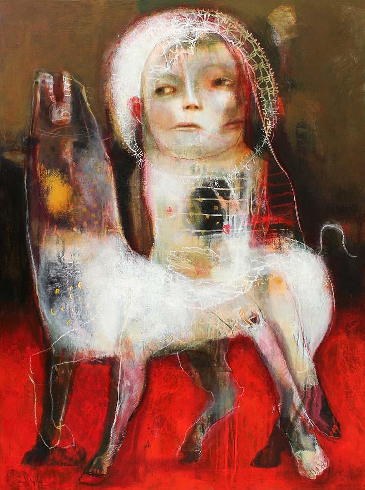 PRESENCE (II), 2014 - Acrylique & pastel à l'huile sur toile, 130x97cm