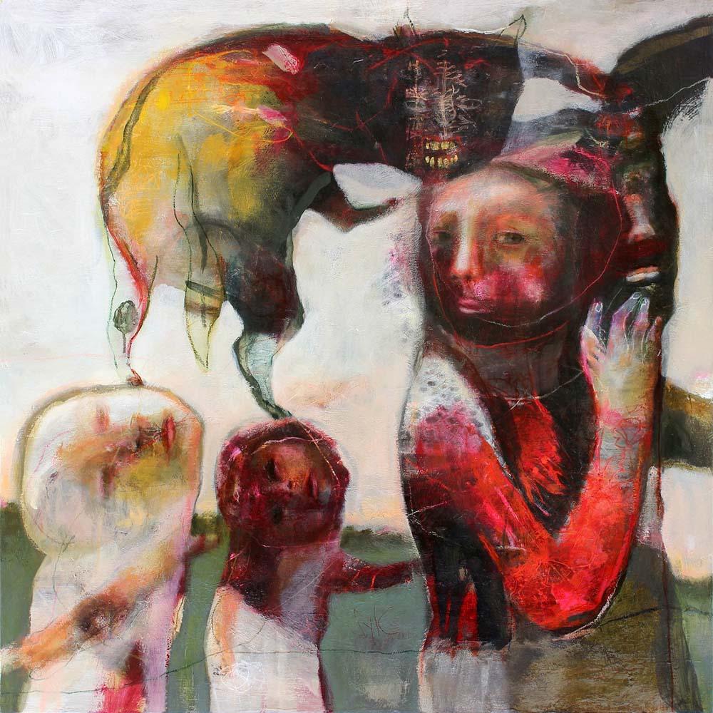 LA RONDE DES CHIENS FOUS (VI), 2014 - Acrylique & pastel à l'huile sur toile, 120x120cm