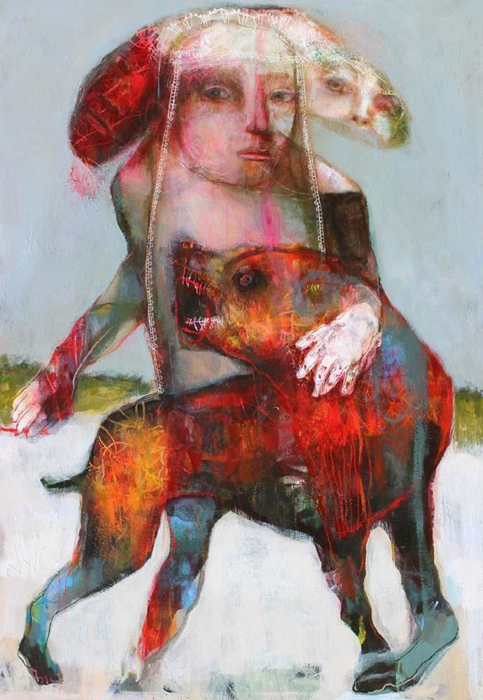 LA RONDE DES CHIENS FOUS (VII), 2014 - Acrylique & pastel à l'huile sur carton, 168x137cm