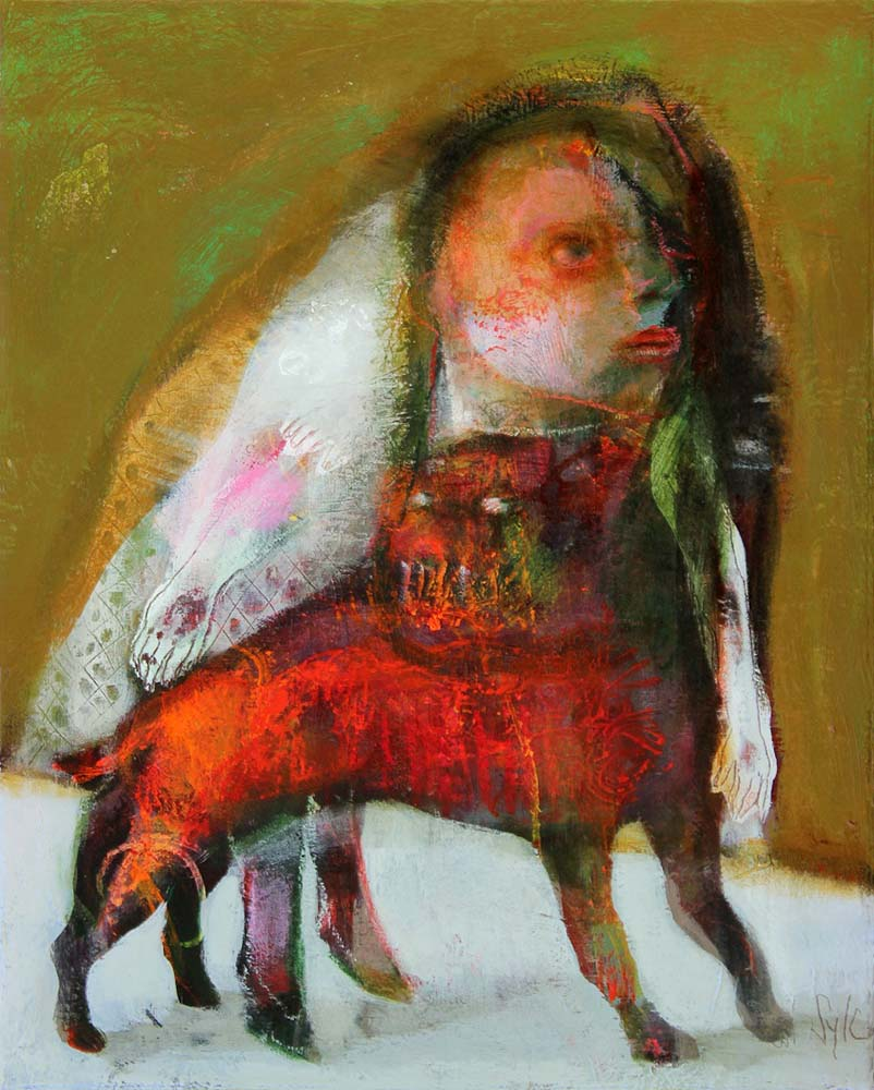 MAD DOG (IV), 2014 - Acrylique & pastel à l'huile sur toile, 41x33cm