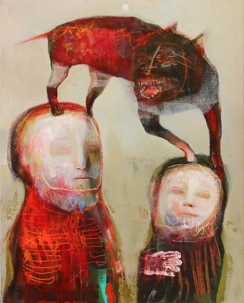 MAD DOG (VII), 2014 - Acrylique & pastel à l'huile sur toile, 81x65cm