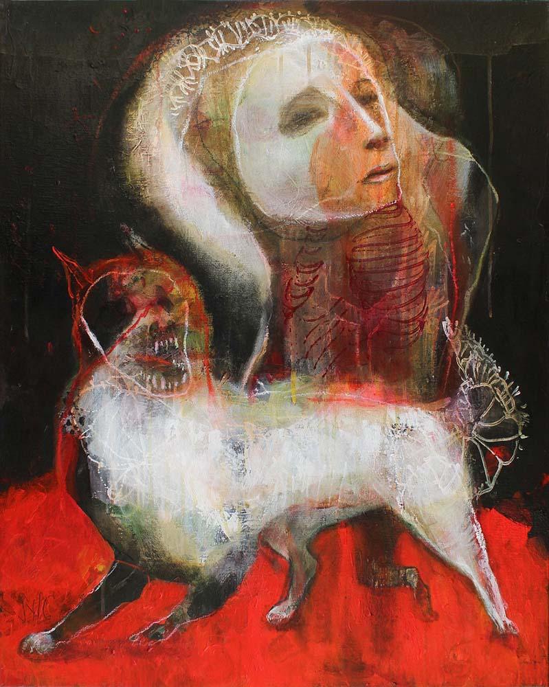 MAD DOG (XIV), 2014 - Acrylique & pastel à l'huile sur toile, 81x65cm
