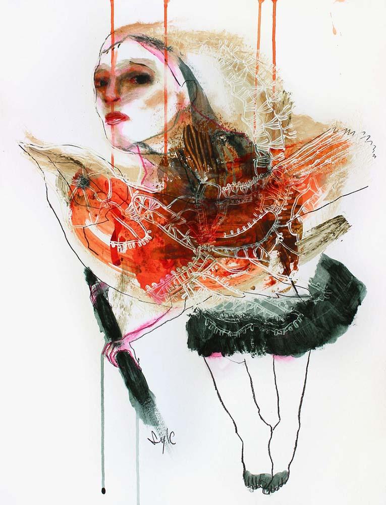 HUMAN BIRD, Dessin #4, 2014 - Fusain, acrylique & pastel gras sur papier, 65x50cm