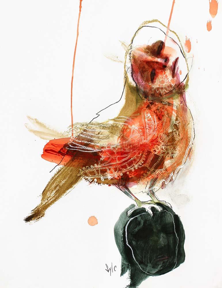 HUMAN BIRD, Dessin #5, 2014 - Fusain, acrylique & pastel gras sur papier, 65x50cm