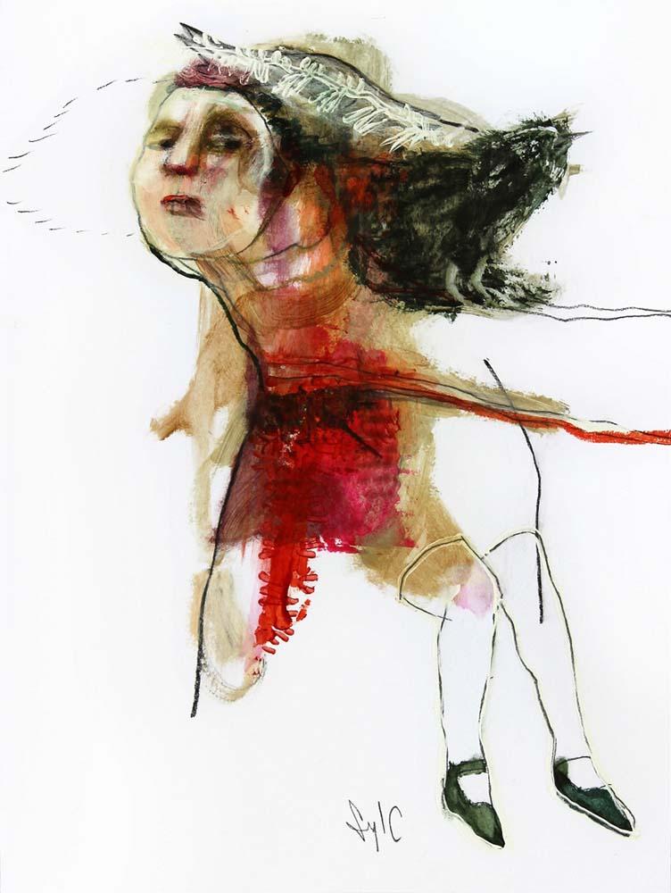 HUMAN BIRD, Dessin #9, 2014 - Fusain, acrylique & pastel gras sur papier, 40x30cm