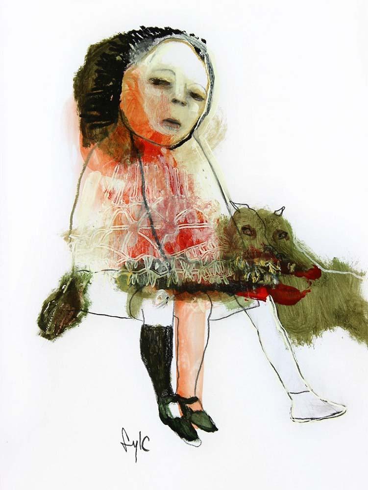 LA RONDE DES CHIENS FOUS, Dessin #1, 2014 - Fusain, acrylique & pastel gras sur papier, 40x30cm
