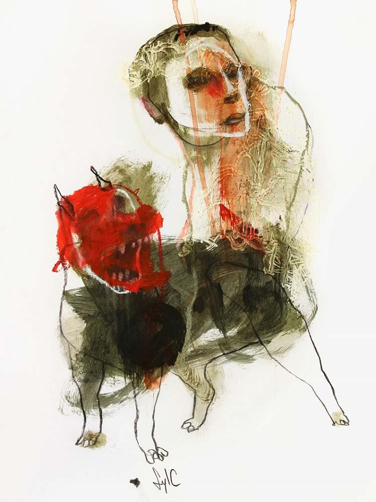 LA RONDE DES CHIENS FOUS, Dessin #4, 2014 - Fusain, acrylique & pastel gras sur papier, 40x30cm