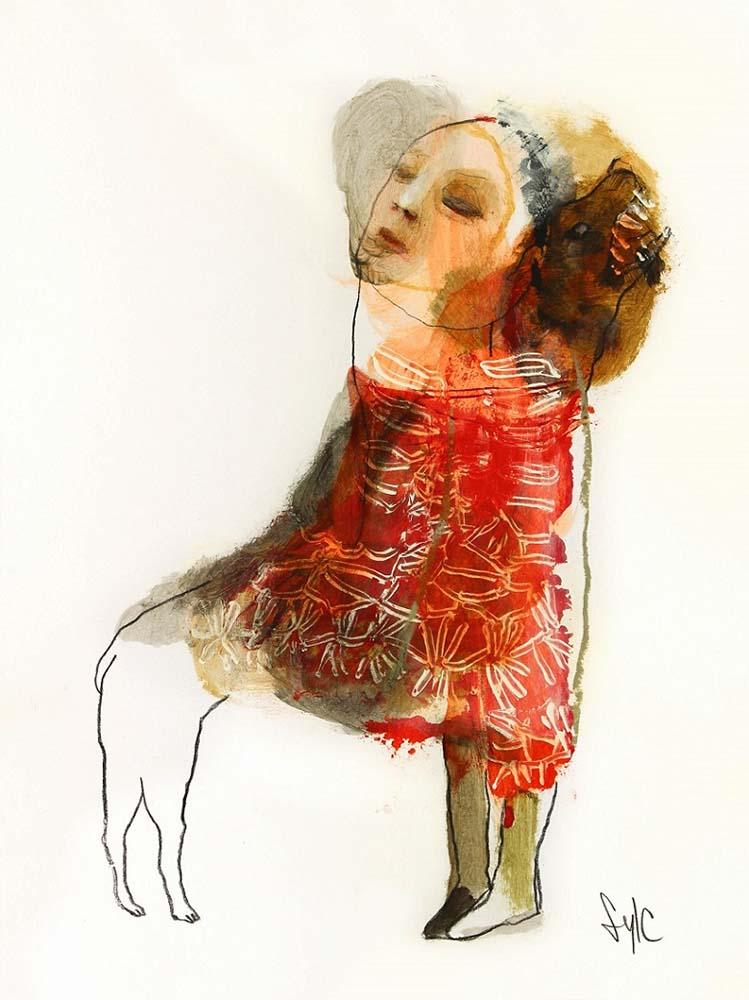 LA RONDE DES CHIENS FOUS #8, 2014 - Fusain, acrylique & pastel gras sur papier, 40x30cm