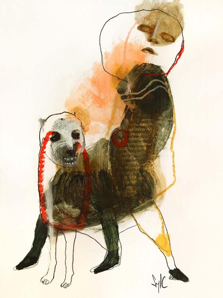 LA RONDE DES CHIENS FOUS, Dessin #13, 2014 - Fusain, acrylique & pastel gras sur papier, 40x30cm