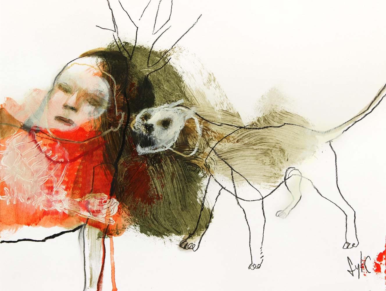 LA RONDE DES CHIENS FOUS #14, 2014 - Fusain, acrylique & pastel gras sur papier, 30x40cm