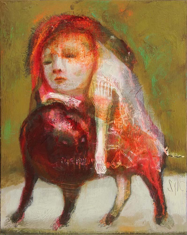 MAD DOG (XXVII), 2015 - Acrylique & pastel à l'huile sur toile, 41x33cm