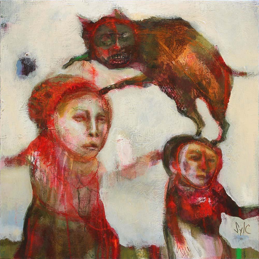 MAD DOG (XXXI), 2015 - Acrylique & pastel à l'huile sur toile, 40x40cm