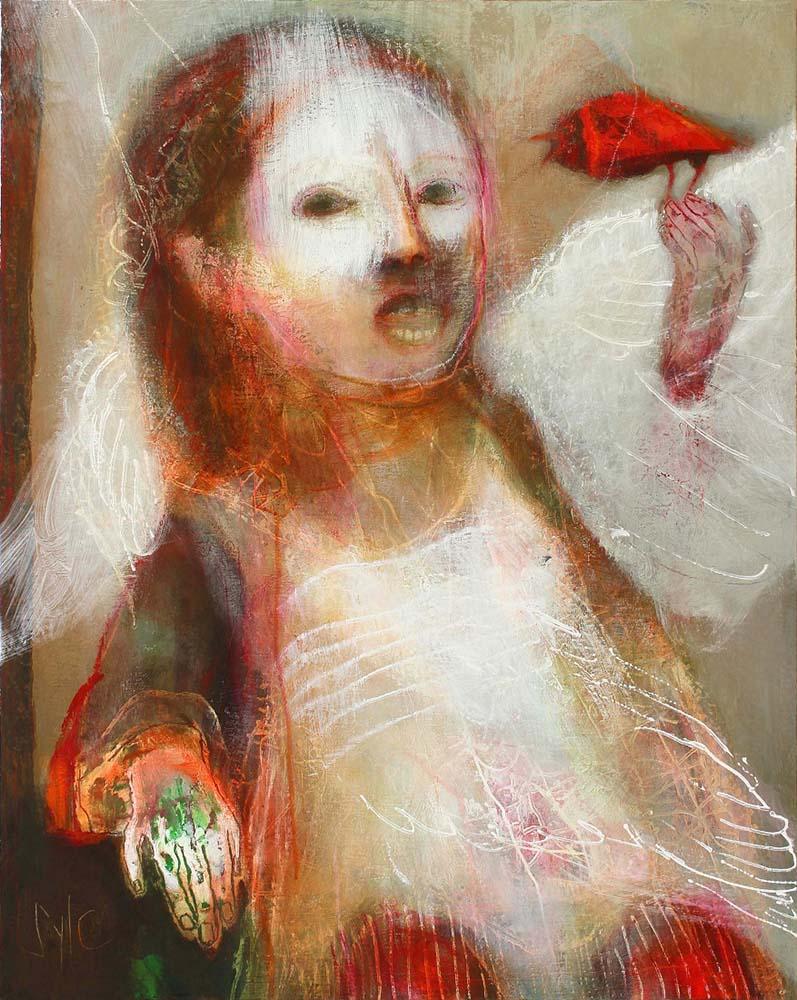 HUMAN BIRDS (V), 2015 - Acrylique & pastel à l'huile sur toile, 81x65cm