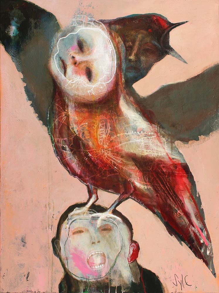 HUMAN BIRDS (I), 2015 - Acrylique & pastel à l'huile sur toile, 130x97cm