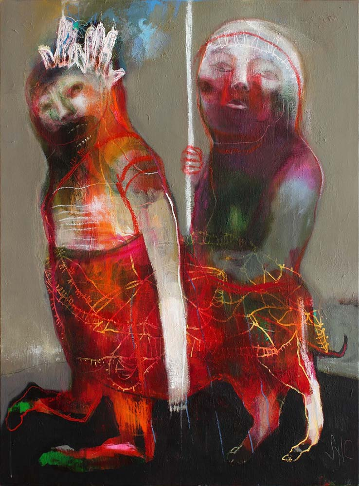 SHAMAN (II), 2015 - Acrylique & pastel à l'huile sur toile, 130x97cm