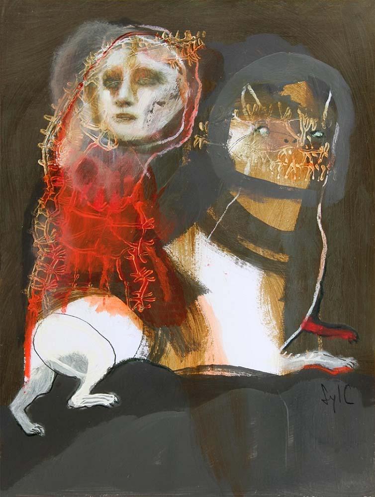 LA RONDE DES CHIENS FOUS, Dessin #28, 2015 - Fusain, acrylique & pastel gras sur papier, 40x30cm