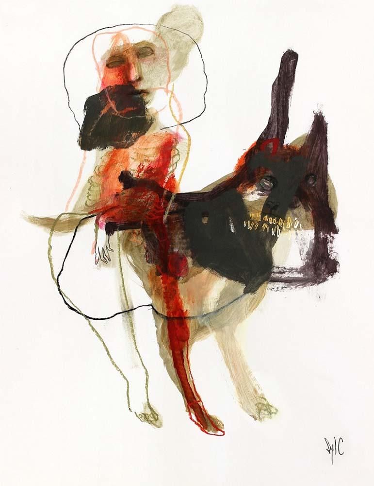 LA RONDE DES CHIENS FOUS, Dessin #38, 2015 - Fusain, acrylique & pastel gras sur papier, 65x50cm