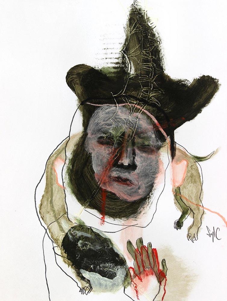 LA RONDE DES CHIENS FOUS, Dessin #48, 2015 - Fusain, acrylique & pastel gras sur papier, 40x30cm
