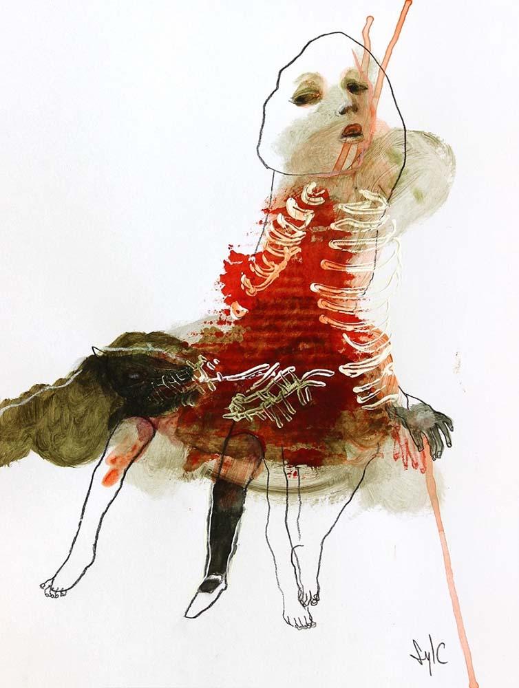 LA RONDE DES CHIENS FOUS, Dessin #49, 2015 - Fusain, acrylique & pastel gras sur papier, 40x30cm