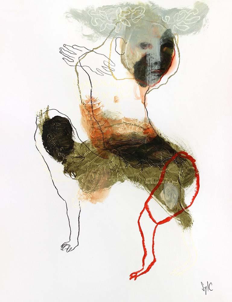 LA RONDE DES CHIENS FOUS, Dessin #52, 2015 - Fusain, acrylique & pastel gras sur papier, 65x50cm