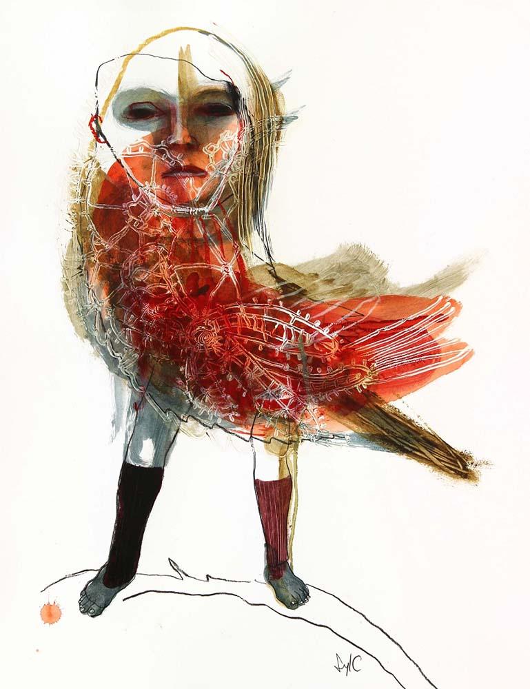 HUMAN BIRD, Dessin #10, 2015 - Fusain, acrylique & pastel gras sur papier, 65x50cm