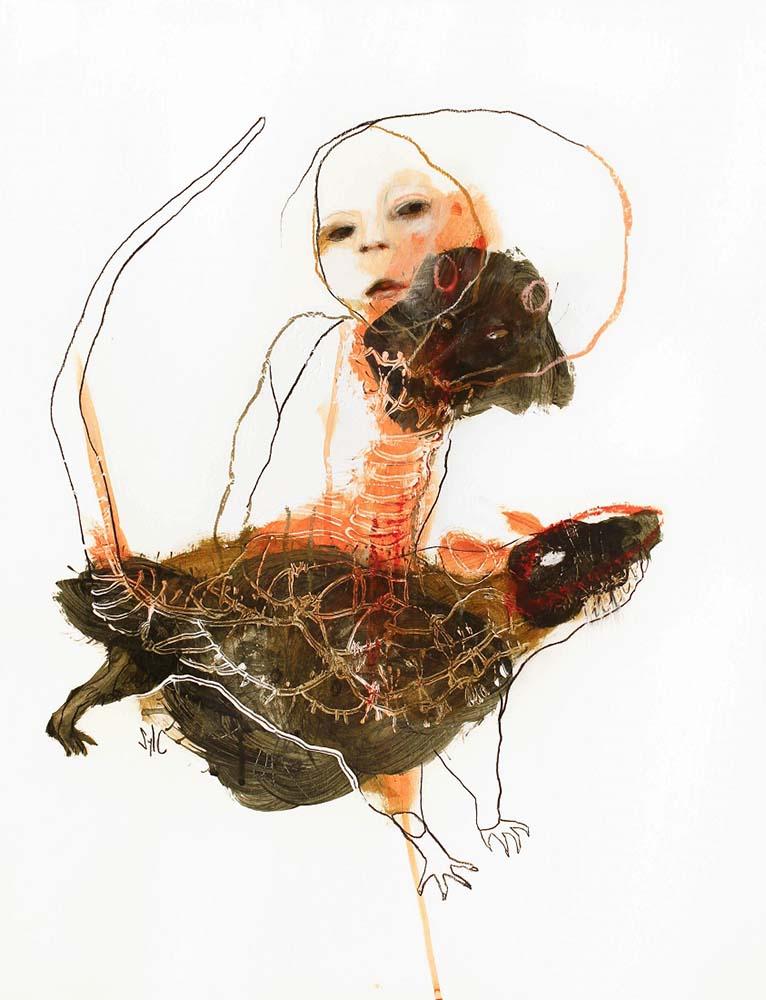 RATS, Dessin #1, 2015 - Fusain, acrylique & pastel gras sur papier, 65x50cm
