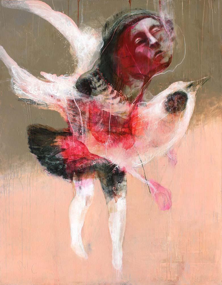 HUMAN BIRDS (XX), 2016 - Acrylique & pastel à l'huile sur carton, 169x137cm