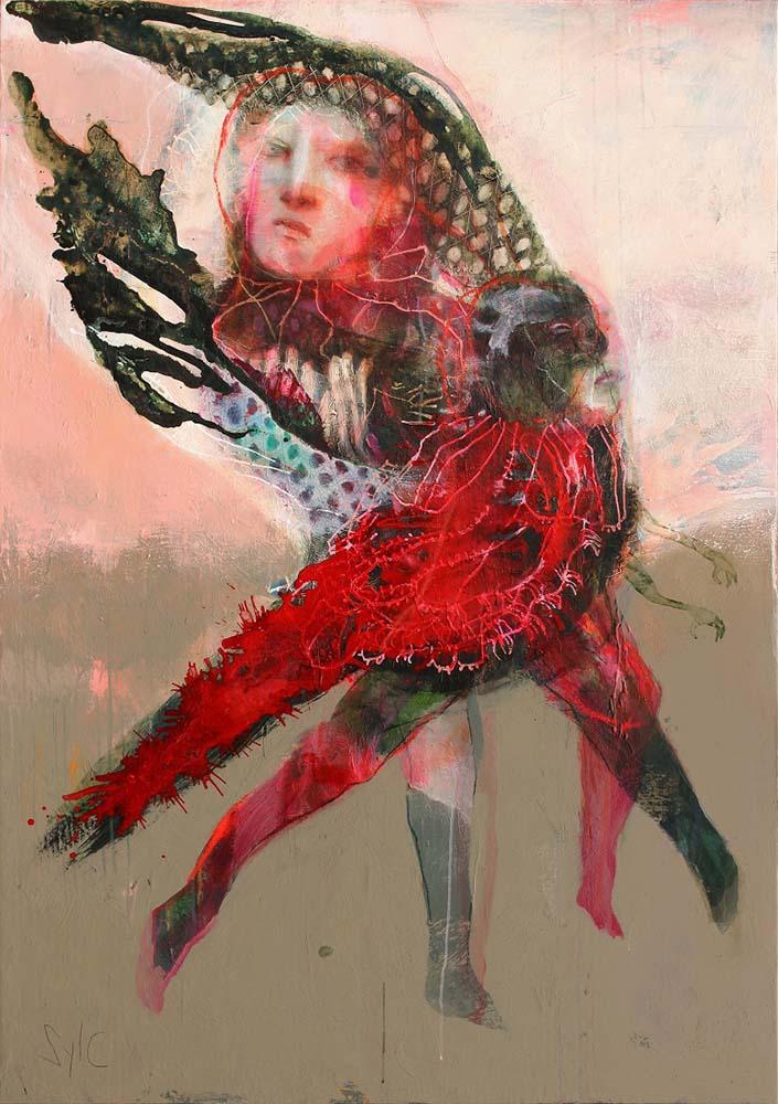 HUMAN BIRDS (XXI), 2016 - Acrylique & pastel à l'huile sur toile, 162x114cm
