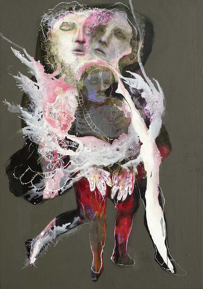 HUMAN BIRDS (XXIV), 2016 - Acrylique & pastel à l'huile sur toile, 162x114cm