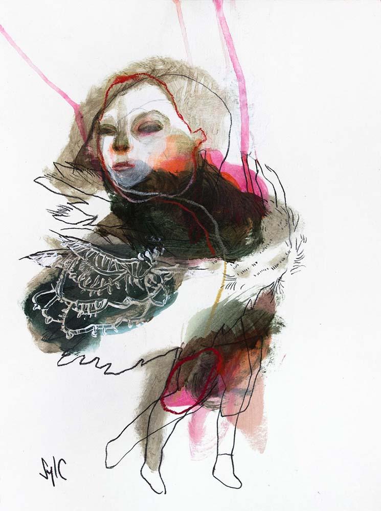 HUMAN BIRD, Dessin #22, 2016 - Fusain, acrylique & pastel gras sur papier, 40x30cm