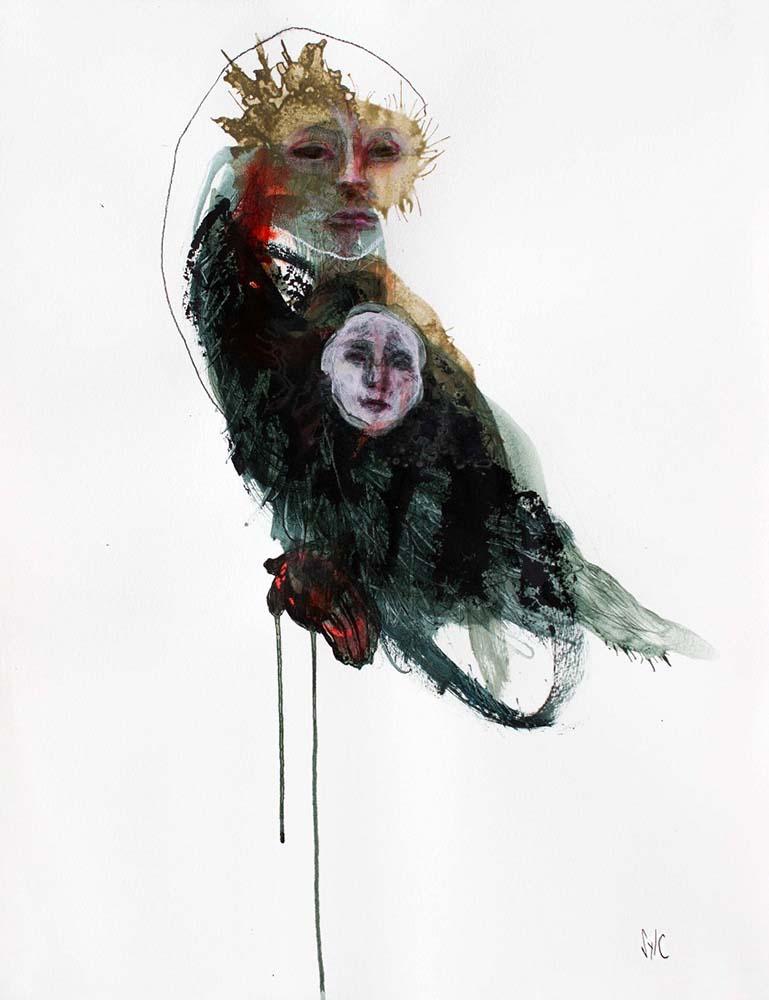 HUMAN BIRD, Dessin #26, 2016 - Fusain, acrylique & pastel gras sur papier, 65x50cm