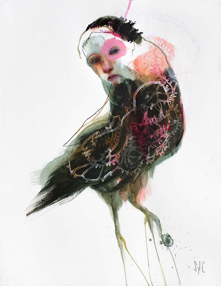 HUMAN BIRD, Dessin #27, 2016 - Fusain, acrylique & pastel gras sur papier, 65x50cm
