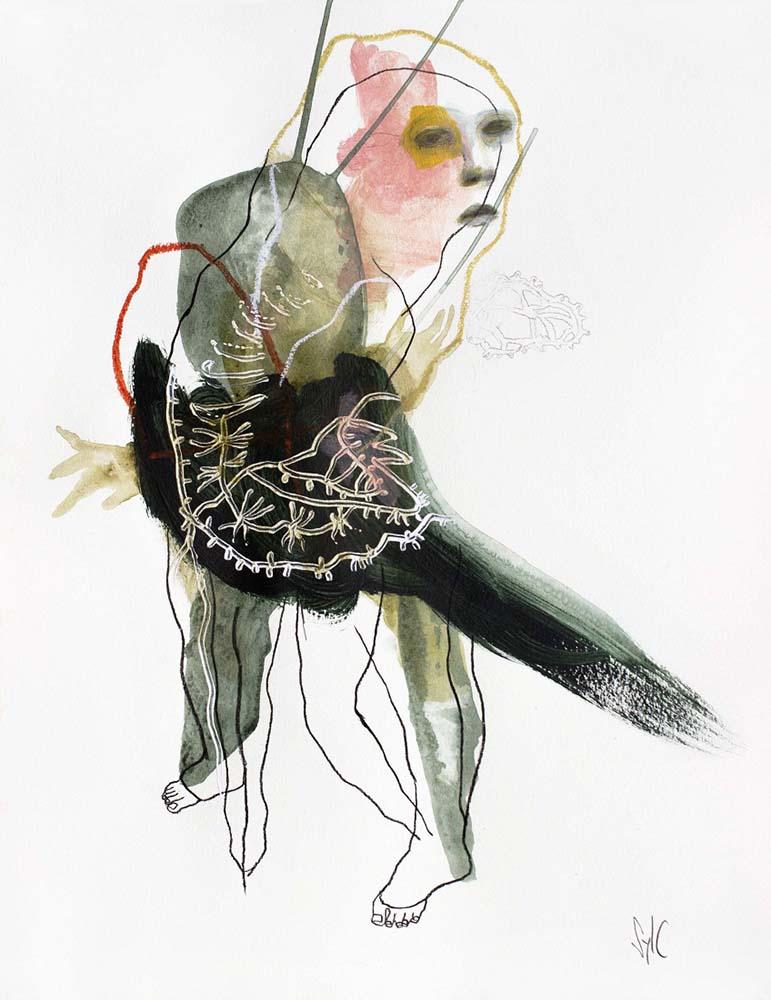 HUMAN BIRD, Dessin #28, 2016 - Mine graphite, fusain, acrylique & pastel gras sur papier, 65x50cm